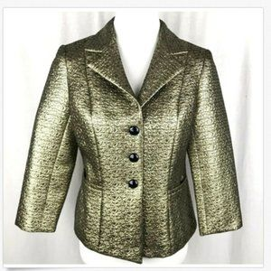 BIGIO COLLECTION Womens Jacket Gold Lame Sz 6 NWOT